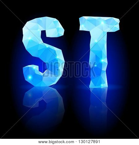 Shiny blue polygonal font. Crystal style S and T letters with reflection on black backround