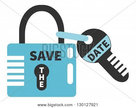 Padlock and key with words SAVE THE DATE. Typographic design element isolated on white background