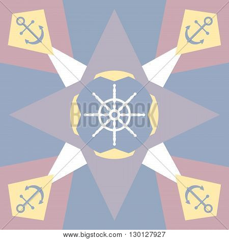 Pastel colored background with star anchor and rudder