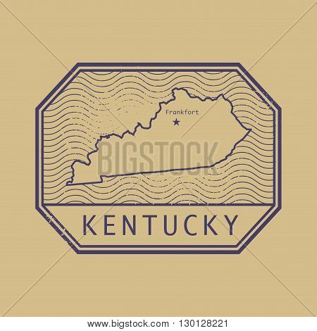 Stamp with the name and map of Kentucky, United States, vector illustration