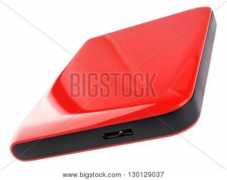 External hard disk drive on red case isolated on the white background