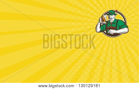Business card showing illustration of a German Bavarian beer drinker raising beer mug for Oktoberfest toast wearing lederhosen and German hat set inside circle done in retro style.
