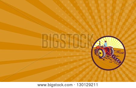 Business card showing illustration of a farmer gardener riding on tractor plowing mowing viewed from rear set inside circle with sunburst in the background done in retro style.