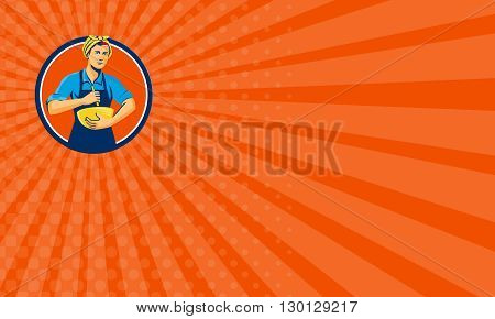 Business card showing illustration of a female chef with bandana holding spatula and mixing bowl mixing viewed from the front set inside circle on isolated background done in retro style.