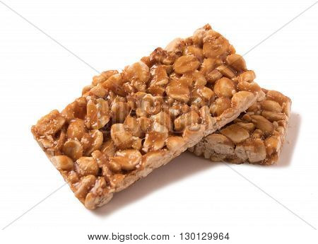 peanut brittle isolated on a white background