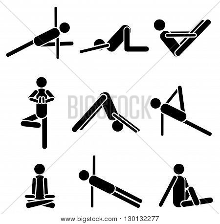 Icons yoga asana pose isolated on white background. Vector illustration.