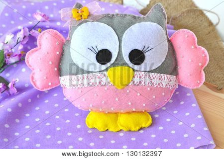 Cute felt owl. Children's soft toy owl