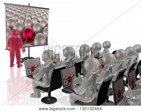 Man with presentation stand on white background, 3D illustration.