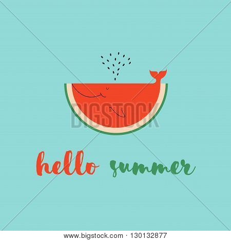 summer time greeting cards template with watermelon slice. Cartoon watermelon, look like whale can be used like greeting cards or party invitations.