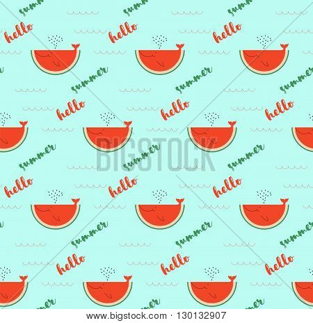 summer time greeting cards template with watermelon slice. Cartoon watermelon, look like whale can be used like greeting cards or party invitations. Steamless pattern