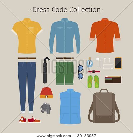 Casual clothing set. Everyday outfit and accessories vector illustration