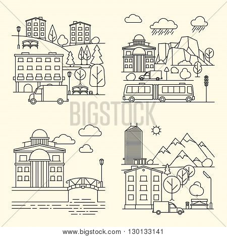 City linear elements. City buildings and transport, urban landscape in line style. Vector illustration