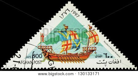 MOSCOW RUSSIA - MAY 17 2016: A stamp printed in Afghanistan shows image of ancient Northern Europe warship dromon series