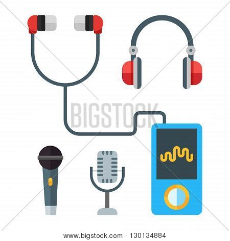 Portable music devices. Modern mp3 player with earphones. Microphones. Headset. Vector flat illustration