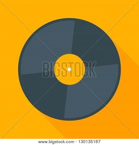 Vector vinyl record icon with long shadow. Flat style vector illustration. Mucis concept