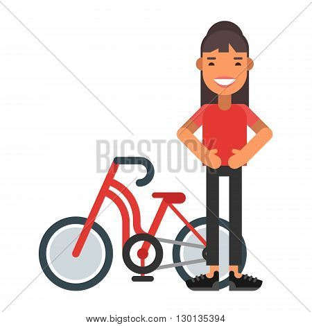 Cyclist with bicycle. Female character. Healthy lifestyle. Flat vector illustration. People occupation character