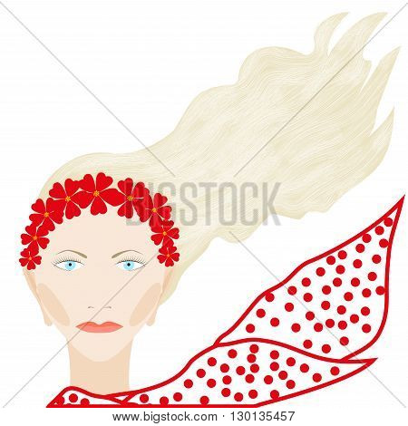 Girl's portrait in a wreath of red flowers and a spotted scarf isolated on white background, vector illustration