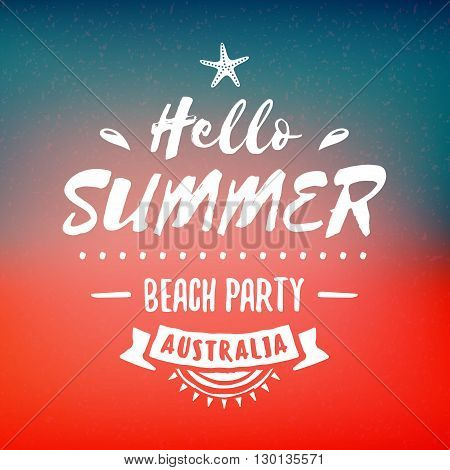 Vintage Hipster Summer Holidays Label Or Badge. Beach Party. Vector Design Element On Coloful Summer