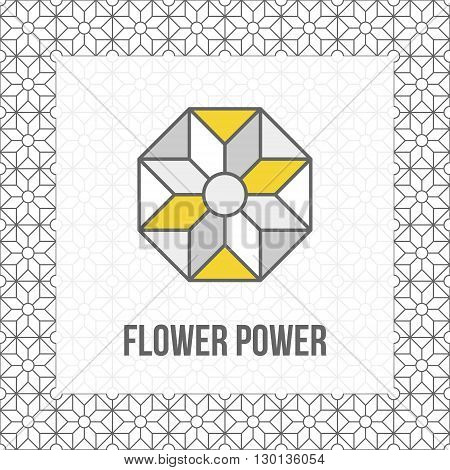 Geometric flower icon grey and yellow with black outline. Matching seamless abstract pattern on background added. Vector illustration.