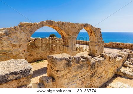 Old greek arches in old city of Kourion near Limassol, Cyprus