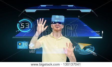 3d technology, virtual reality, cyberspace, entertainment and people concept - happy young man with virtual reality headset playing game over gps navigator projection and black background