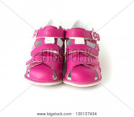 bright pink sandals for kids isolated on white background