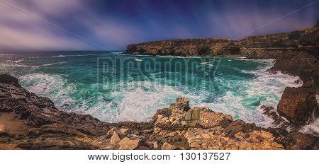Rocky coast in Ajuy, Parque Rural de Betancuria in Fuerteventura, Canary Island, Spain