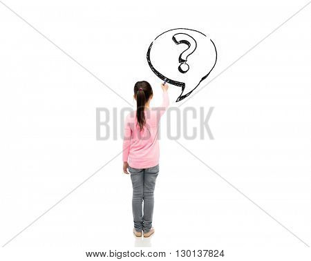 childhood, preschool education, information, learning and people concept - little girl with marker drawing question mark from back