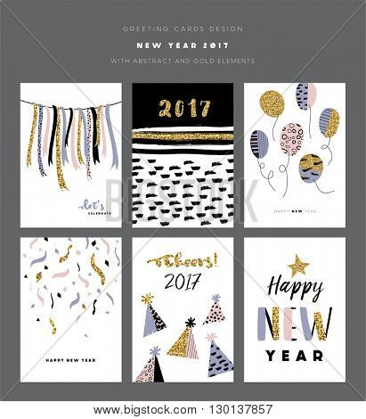 Set of 2017 New Year greeting cards