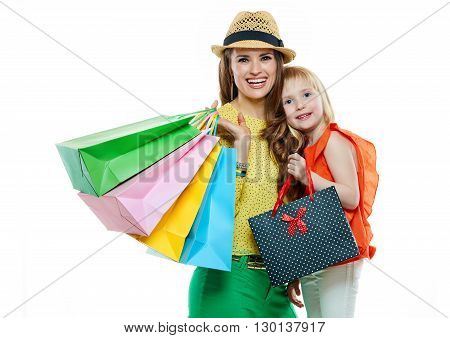 Portrait Of Happy Mother And Daughter With Shopping Bags