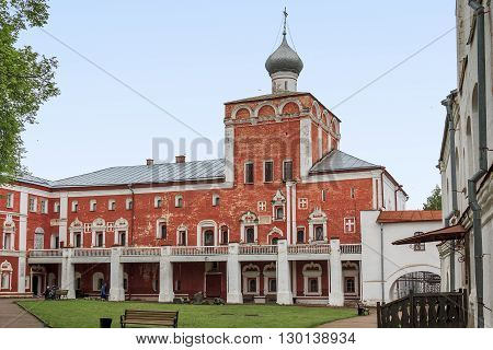 Vologda, Russia - May 24: This is archbishop's ceremonial Simonovsky House with the Church of the Nativity of the 17th century on the territory of the Vologda Kremlin May 24, 2013 in Vologda, Russia.