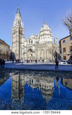 Toledo Spain - March 13 2016: . Catedral Primada Santa Maria de Toledo built in Mudejar gothic style (1226). Castilla la Mancha.