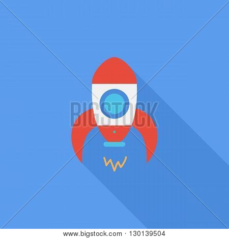 Rocket icon. Flat vector related icon with long shadow for web and mobile applications. It can be used as - logo, pictogram, icon, infographic element. Vector Illustration.
