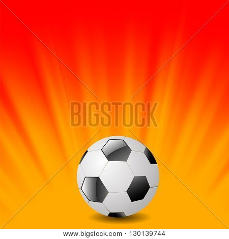 Sport Football Icon on Orange Wave Background