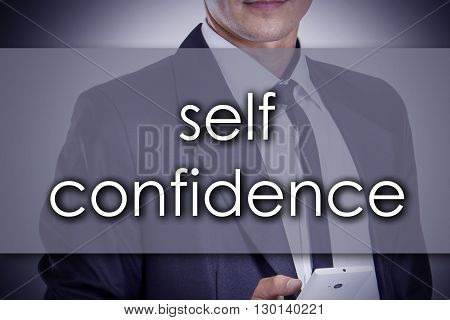 self confidence - Young businessman with text - business concept - horizontal image