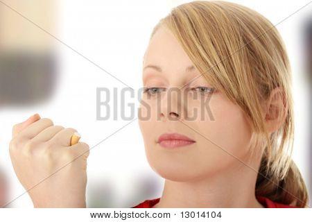 Young caucasian woman quiting smoking
