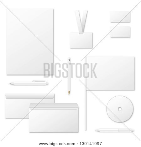 Printing materials vector template for corporate identity. Card business template corporate identity. Print paper envelope and stationery blank for corporate identity illustration