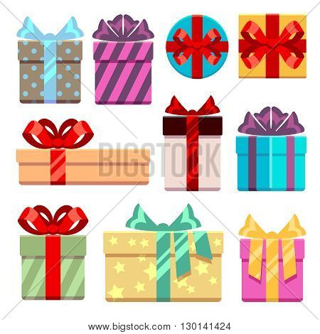 Gift boxes flat icons set. Gift box package or bag, box with ribbon for gift birthday. Vector illustration