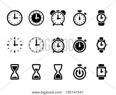 Clock, time vector icons. Hour and time clock symbol and timer with arrow, round clock illustration