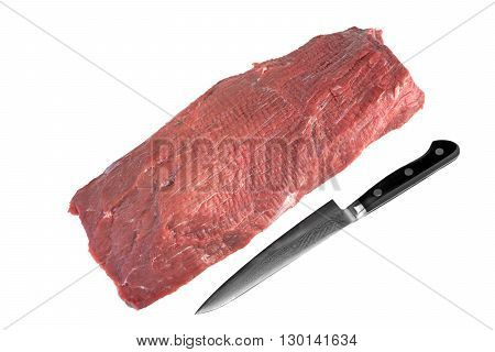 Uncooked Beef Tenderloin Meat Cut And Knife White Isolated
