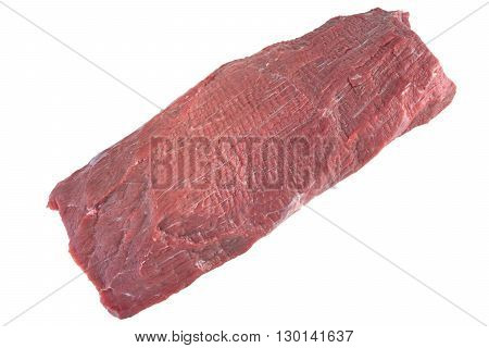 Uncooked Beef Tenderloin Meat Cut Isolated On White Background