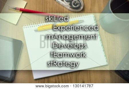 Skilled Experienced Management Develops Teamwork Strategy Leader -  Business Concept With Text
