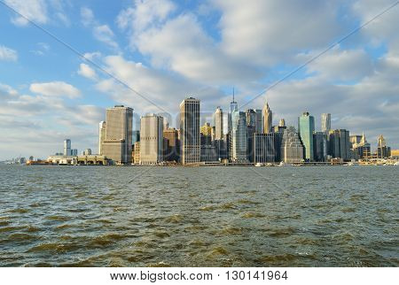 View of the Manhattan skyline from the Brooklyn Bridge Park.
