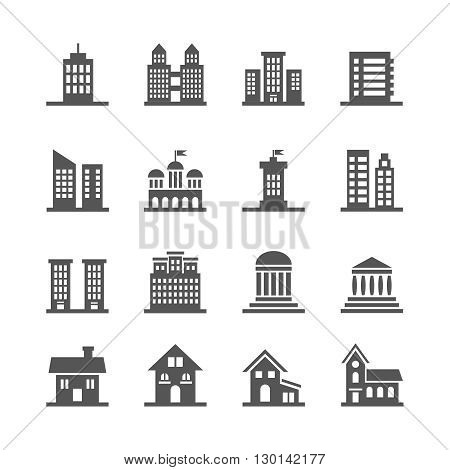Building, house vector icons. House or home building set icon and illustration architecture  property building