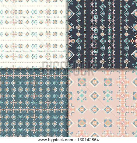 Geometric seamless patterns. Abstract pattern set. Ethnic background, aztec pattern