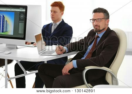 Chief Engineer working in office