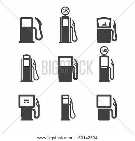 Gas, gasoline vintage pump icons. Vector.