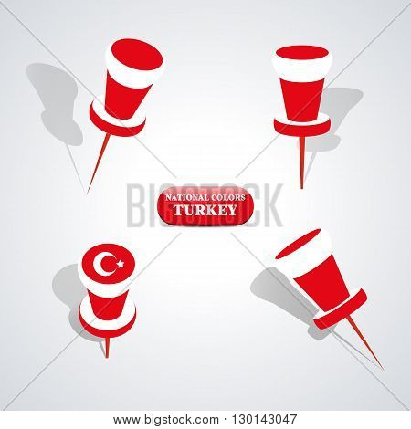 Set of pushpin in the national colors of Turkey vector illustration.