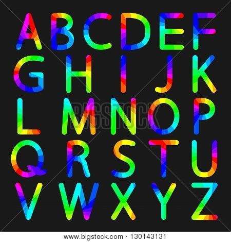 Rainbow letters with rounded corners of the English alphabet vector illustration.