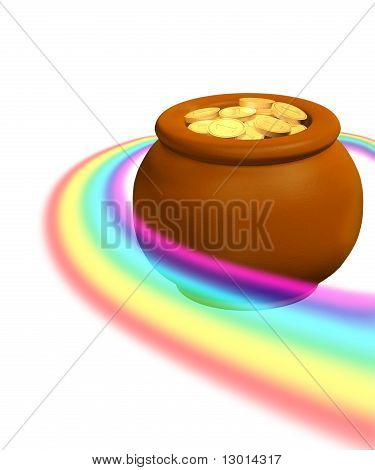 Rainbow And Pot With Golden Coins